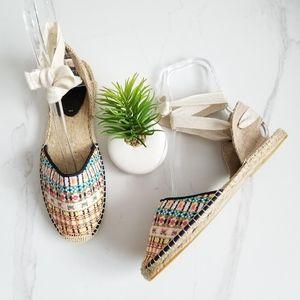 SOLUDOS Plaid Ankle Tie Lace Up Espadrilles Flats